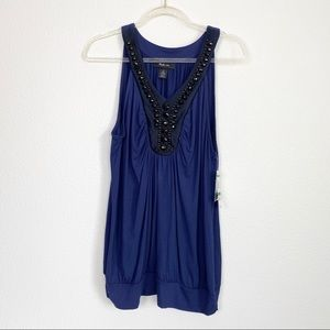 Style & Co Blue Jewel Embellished Tank Top